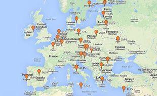 Carte (Google Maps) du chômage dans l'Union européenne selon des chiffres de septembre 2013.