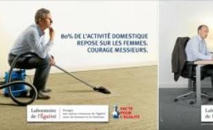 Images de la campagne nationale de l'association Le laboratoire de l'Egalité, dénonçant les inégalités entre hommes et femmes.