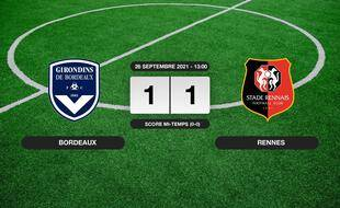 Résultats Ligue 1: Match nul entre Bordeaux et le Stade Rennais (1-1)
