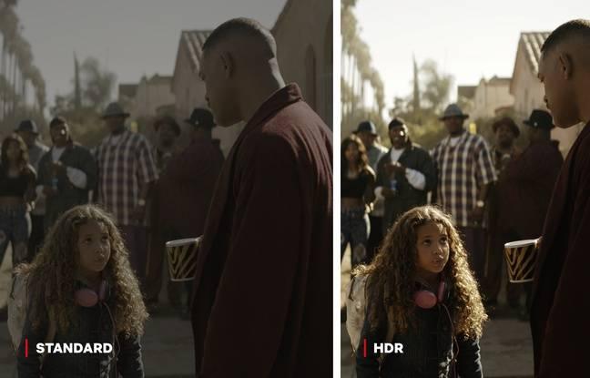 Comparaison entre l'image classique et HDR (contrastes dynamiques) du film de Netflix «Bright».
