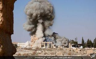 Image issue d'une vidéo diffusée par l'Etat islamique et montrant, vraisemblablement, la destruction du temple de Bêl à Palmyre en Syrie.