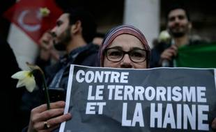Manifestation contre le terrorisme place de la Bourse le 23 mars 2016 à Bruxelles