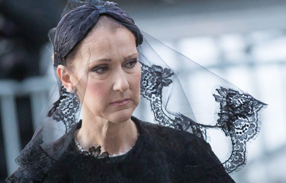 Céline Dion aux obsèques de son mari, Renée Angélil, le 22 janvier 2016 à la basilique de Montréal. – B.ROBINS/AFP