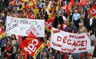 Manifestation contre le projet de loi sur la reforme du Code du travail, projet porte par la ministre du travail, Myriam El Khomry. Lyon, (Rhone) FRANCE-14/06/2016. Pascal Fayolle/SIPA