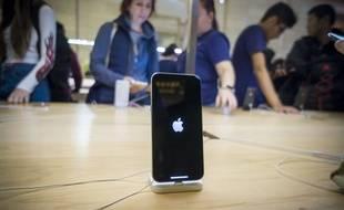L'écran de démarrage d'un iPhone X.