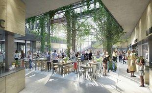 Vue intérieure du futur ood hall de Nantes depuis le rez-de-chaussée.