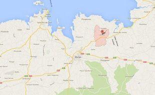 Google map de Lanmeur, dans le Finistère.