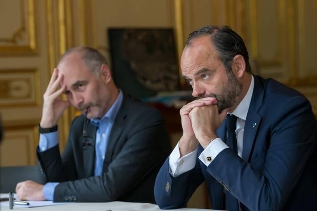 Gilles Boyer, conseiller du Premier ministre, et Edouard Philippe, à Matignon, le 14 juin 2018.