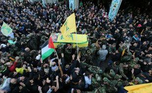 Funérailles de Samir Kantar dans la banlieue chiite de Beyrouth, le 21 décembre 2015
