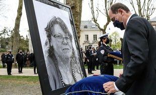 Le Premier ministre, Jean Castex préside une cérémonie d'hommage national a  Stéphanie Monferme, vendredi 30 avril, une semaine après l'attentat perpétré le 23 avril 2021 dans le commissariat de Police de Rambouillet.