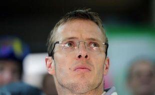 Sébastien Bourdais, membre du Team Pescarolo, après sa scéance d'essais du 13 juin 2012 en préparartion de la 80e édition des 24 heures du Mans qui se dérouleront le 16 et 17 juin 2012.
