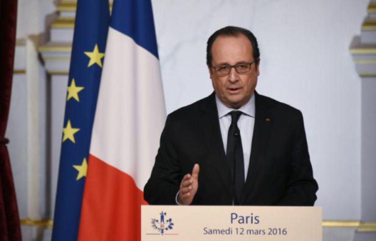 Le président François Hollande à l'Elysée, à Paris, le 12 mars 2016. – DOMINIQUE FAGET AFP