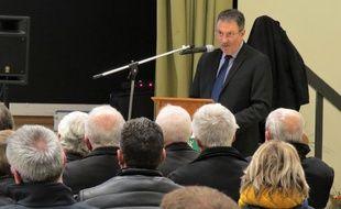 Jean-Paul Naud (SE), maire de Notre-Dame-des-Landes, lors de ses vœux 2019 aux habitants.