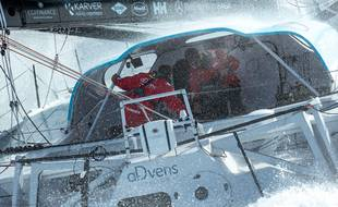 Thomas Ruyant et Antoine Koch en pleine navigation.