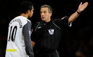 L'arbitre, M. Wiley, lors du match Manchester United-Sunderland 2-2, le 3 octobre 2009.