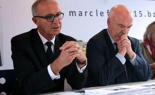 Bernard Marboeuf, tête de liste UDI en Ille-et-Vilaine, et Marc Le Fur, tête de liste aux régionales en Bretagne. Ici le 10 novembre à Rennes.
