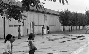 Des enfants devant l'un des barraquements du camp de Bias, dans le Lot-et-Garonne, en août 1975.