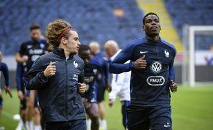 Antoine Griezmann et Paul Pogba s'entraînent à Stockholm, à la veille du match entre la Suède et la France, le 8 juin 2017.