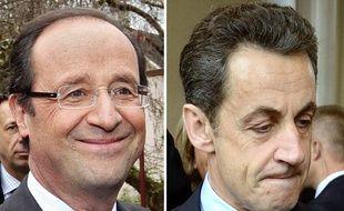 François Hollande (à gauche) et Nicolas Sarkozy (à droite).