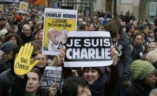Des milliers de personnes participent à la marche républicaine le 11 janvier 2015 à Paris