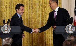 Nicolas Sarkozy et Barack Obama, lors d'une conférence de presse, le 30 mars 2010 à la Maison Blanche