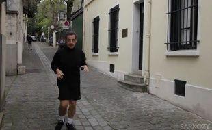 Nicolas Sarkozy dans un mesage d'encouragement aux participants du marathon de Paris, le 12 avril 2015.