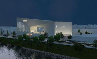 Vue nocturne de la future MECA (Maison de l'économie créative et de la culture) d'Aquitaine
