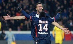 Thiago Motta et Blaise Matuidi contre Nantes le 19 janvier 2014.