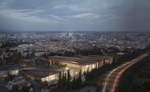 Vue aérienne sur le projet du nouveau parc des expositions de Strasbourg.