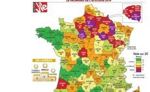 La carte de France du palmarès 2014 de l'écologie par l'hebdomadaire La Vie.