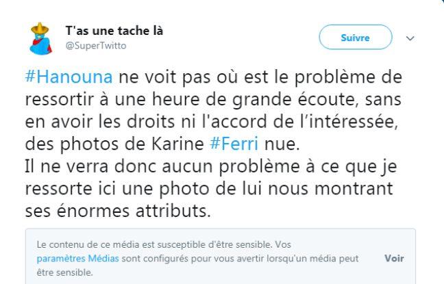 Capture d'écran d'un tweet accompagné d'une vidéo de Cyril Hanouna nu.