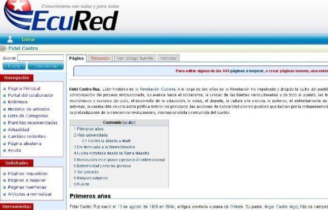 Capture d'écran d'Ecured, encyclopédie de Cuba, prise le 14 décembre 2010