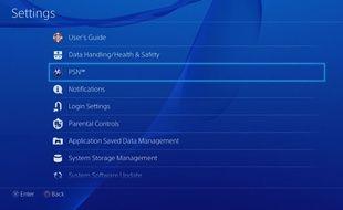 Le menu des réglages de la Playstation 4.
