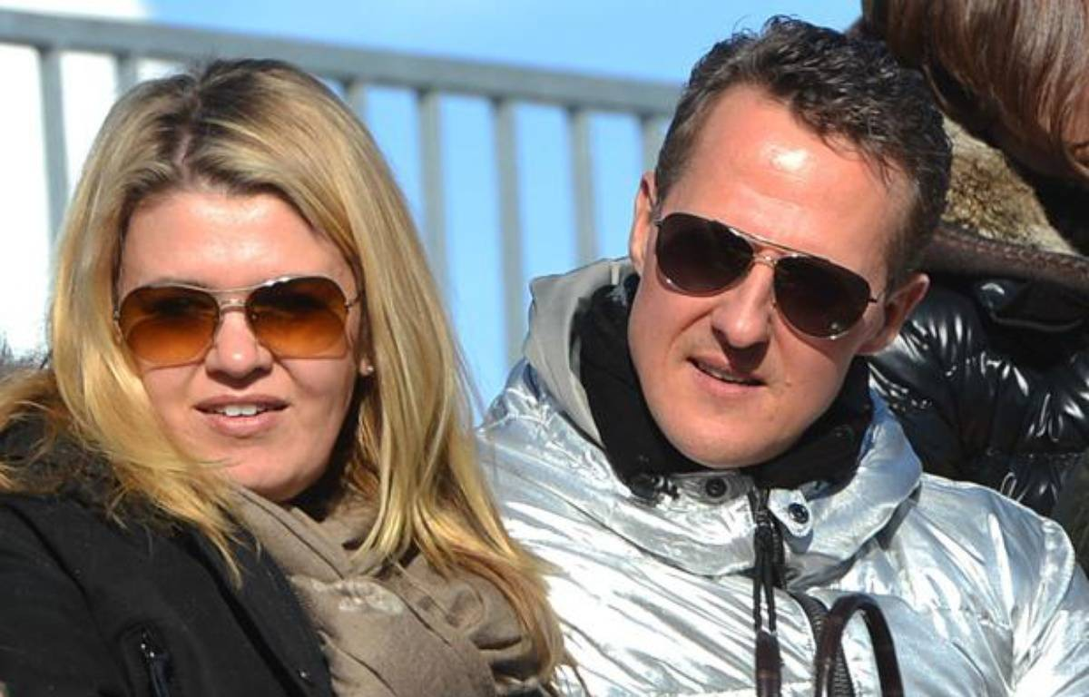 Michael Schumacher avec sa femme Corrina à St Moritz (Suisse) le 27 janvier 2013. – BABIRAD/SIPA