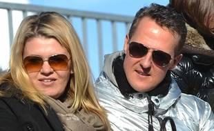 Michael Schumacher avec sa femme Corrina à St Moritz (Suisse) le 27 janvier 2013.