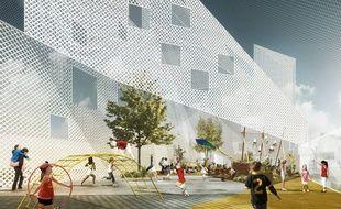 Image de synthèse de la future école Hortense, sur la ZAC Bastide Niel à Bordeaux