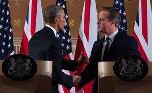 Barack Obama et David Cameron réunis le 22 avril 2016 lors d'une conférence de presse (Royaume-Uni).