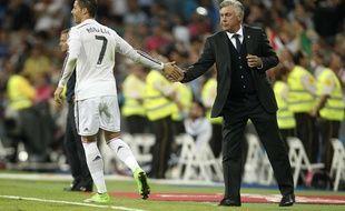 Cristiano Ronaldo et Carlo Ancelotti, le 23 septembre 2014 à Madrid.