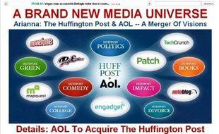 Capture d'écran du Huffington Post, annonçant en home le rachat par AOL, le 7 février 2011.