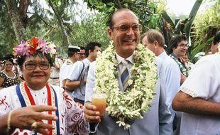Jacques Chirac en visite à Tahiti en 1985.