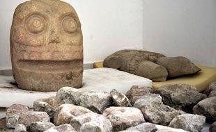 Une statue représentant la tête de Xipe Totec, le «dieu des écorchés», divinité de la fertilité et de la guerre.