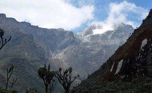 Devant le Rwenzori en Ouganda, une des trois montages d'Afrique avec un glacier à son sommet.