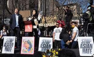 Une manifestation visant à dénoncer le racisme contre les asiatiques, à New York le 21 mars 2021.