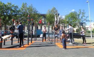 L'aire de street work out sur l'île de Nantes