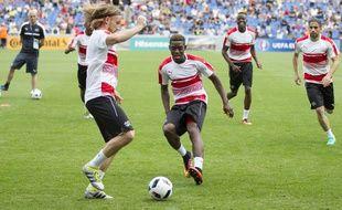 Les footballeurs suisses lors de la séance d'entraînement publique à La Mosson