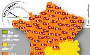 Vigilance météo France à 20 heures le 09 février 2009