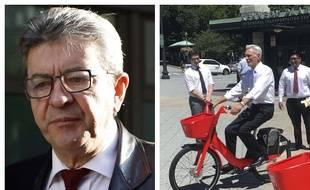 Collage AP/SIPA/20 Minutes/Fotor de Jean-Luc Mélenchon chef de file du parti France insoumise et du vélo Jump détenu par Uber Technologies