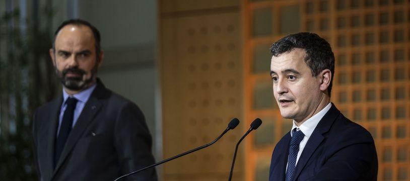 Gérald Darmanin, le 17 février 2020, avec Edouard Philippe.