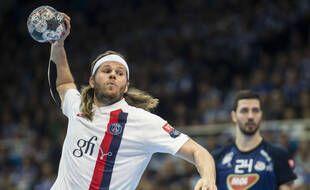 Mikkel Hansen, durant un match de C1 du PSG en février 2020.