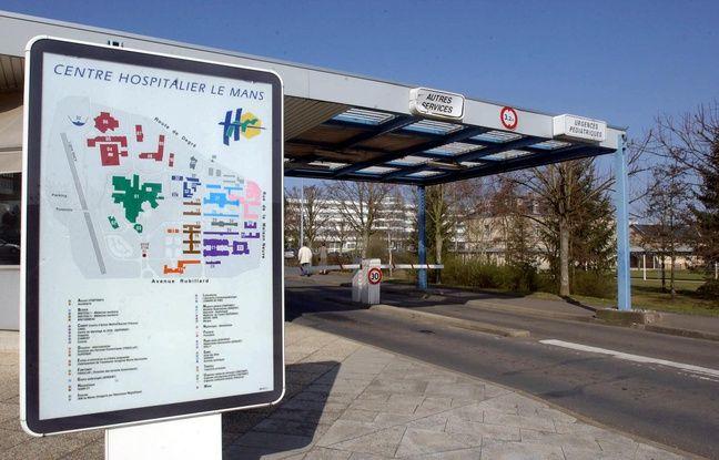 Vue prise le 19 mars 2003 de l'entrée du centre hospitalier du Mans